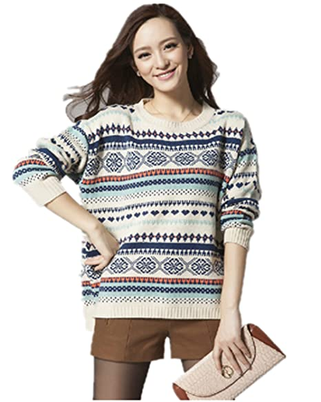 82c6cd263a5d6 Image Unavailable. Image not available for. Color  Superbaby Women s Tribal  Pattern Fair Isle Crew Neck Loose Pullover Sweater ...