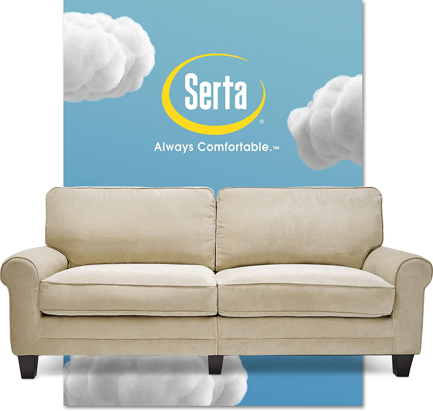 "Serta Copenhagen Sofa Couch for Two People, Pillowed Back Cushions and Rounded Arms, Durable Modern Upholstered Fabric, 78"", Marzipan"