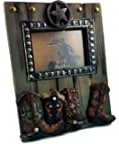 """""""Four Boots"""" Western Picture Frame with Lone Star, 4x6 Photo, Real Wood and Resin, Hand-Painted, Heirloom Quality."""
