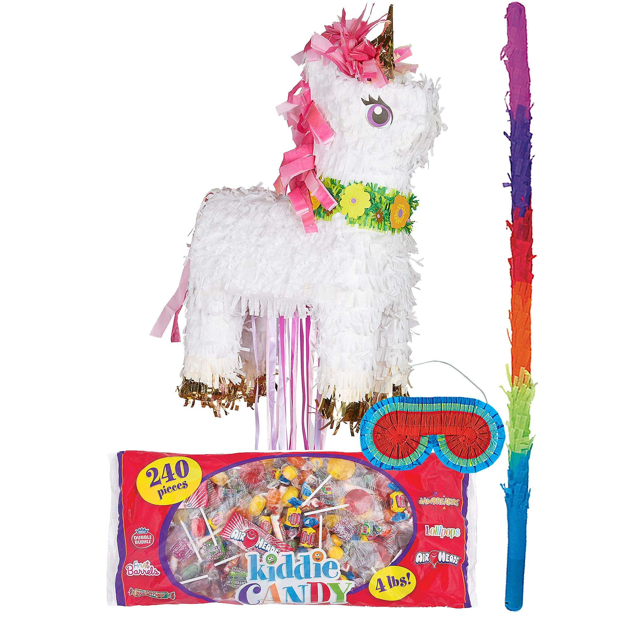 Party City Sparkling Unicorn Pinata Kit, Birthday Party Activities, Includes Blindfold, Bat and 240 Kiddie Candy Mix