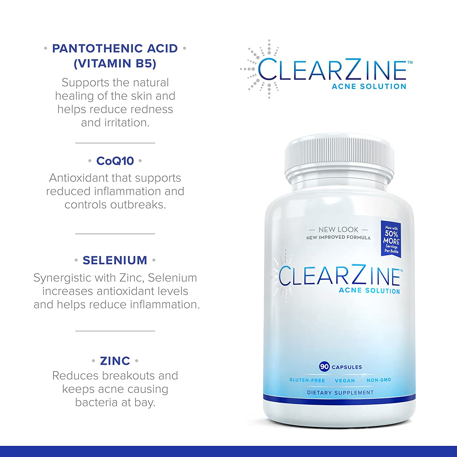 Amazon Com Clearzine Acne Solution Best Natural Acne Pills For