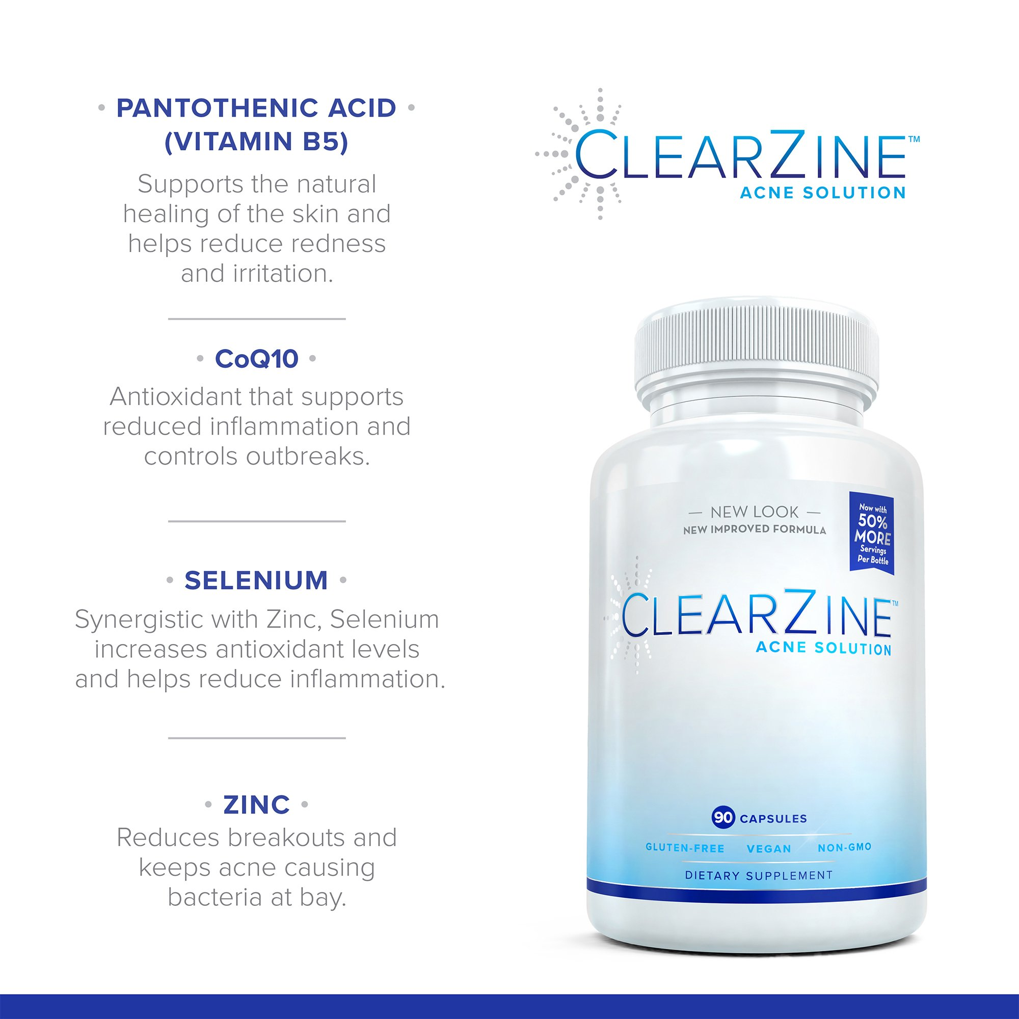 ClearZine Acne Pills for Teens & Adults   Clear Skin Supplement, Vitamins for Hormonal & Cystic Acne   Stop Breakouts, Oily Skin with Milk Thistle, Pantothenic Acid & Zinc, 2 Bottles, 90 Caps Each by ClearZine (Image #6)