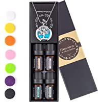 Faurora Essential Oil Necklace Gift Set, Tree of Life Aromatherapy Diffuser Necklace with 4 Aroma Essential Oils…