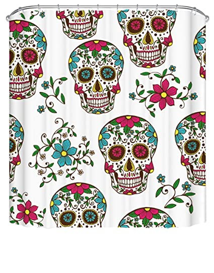 White Flower Skull Shower Curtain Set 72x72 Original Floral Print Curtains