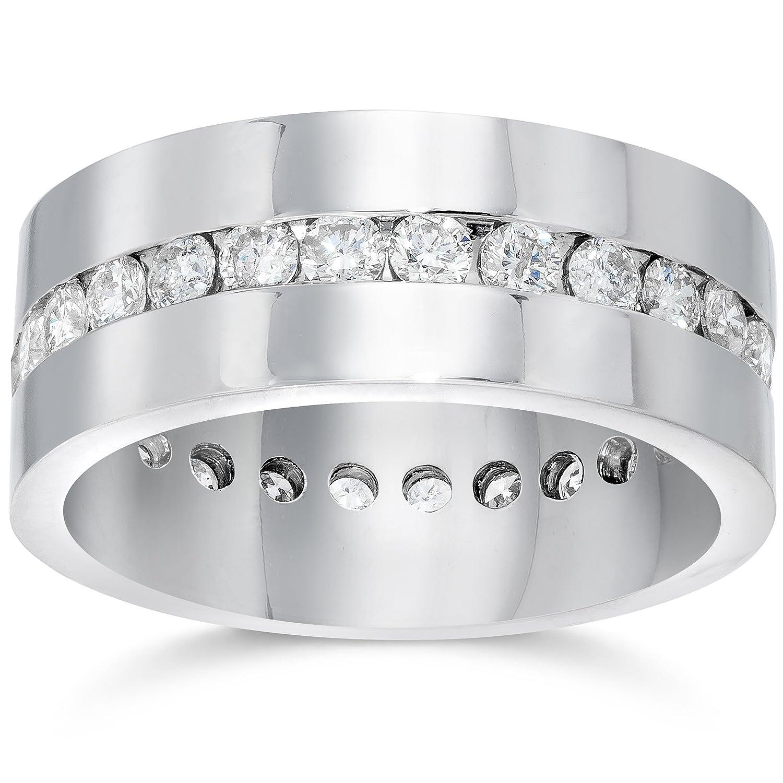 Mens 1 1 10ct Diamond Eternity fort Wedding Band 14k White Gold