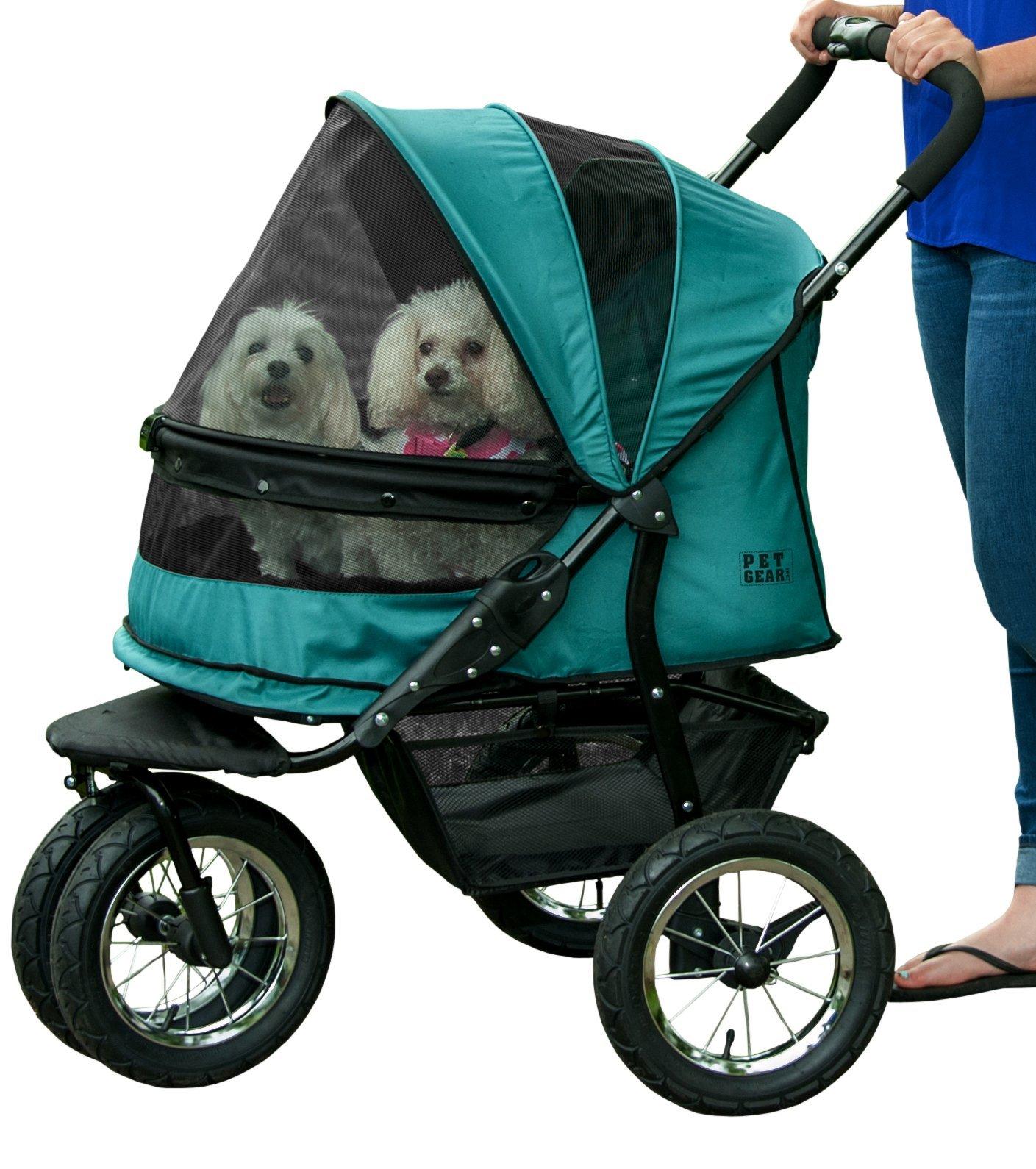 Pet Gear No-Zip Double Pet Stroller, Zipperless Entry, Pine Green