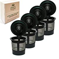 4 Pack Reusable K Cups For Keurig 2.0 & 1.0 Brewers Universal Fit For Easy To Use Refillable Single Cup Coffee Filters - Eco Friendly Stainless Steel Mesh Filter By iPartsPlusMore