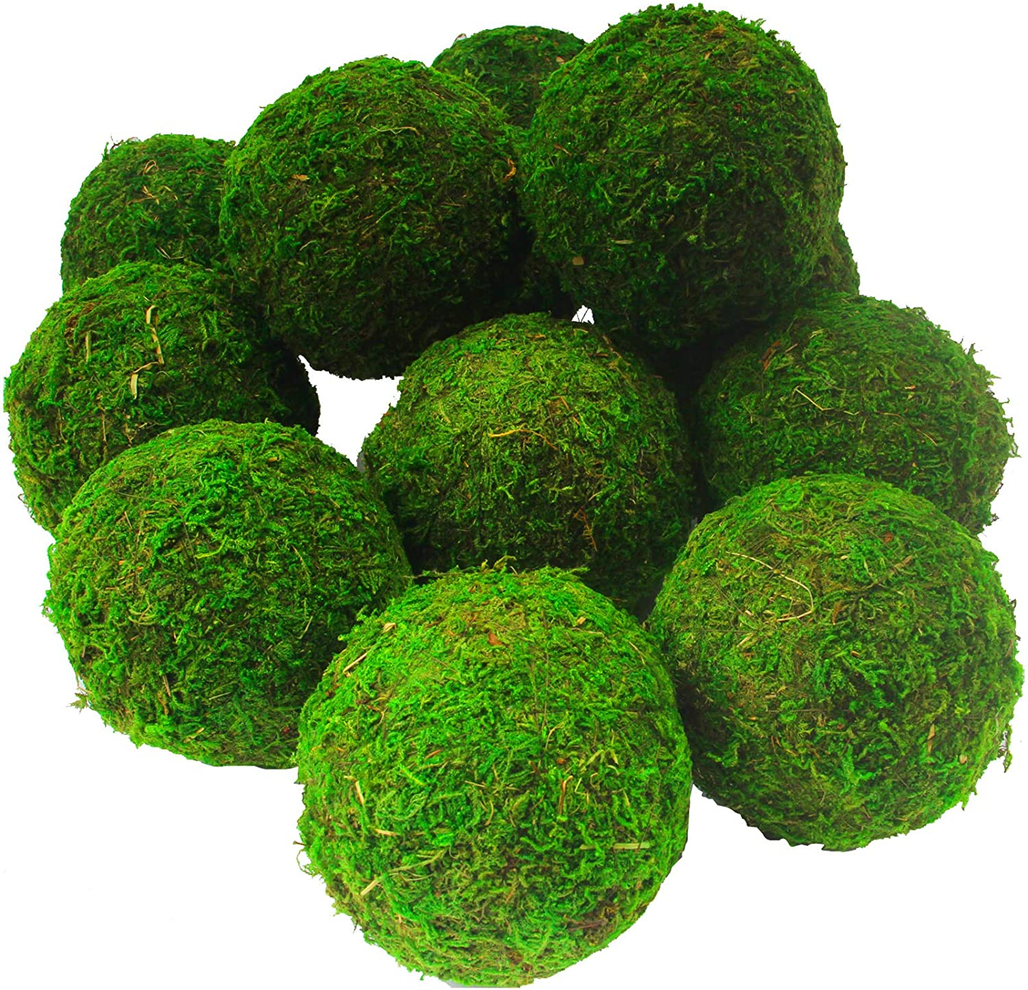 AMEICE Natural Green Moss Balls Handmade Decorative Authentic Real Preserved Moss Hanging Balls for Garden Patio Home Table Decor Party &Weddings Display Props Farmhouse Style Decor (MossBall3.2-6)