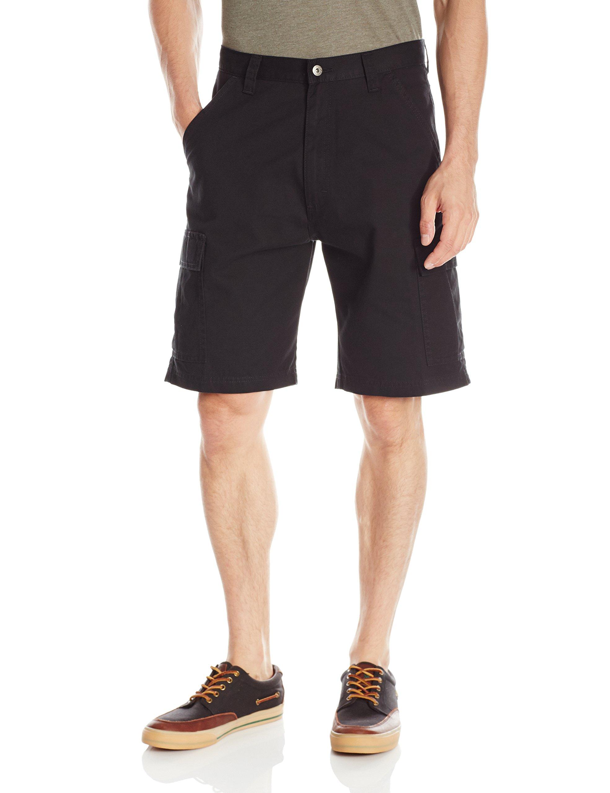 Wrangler Men's Authentics Classic Twill Cargo Short, Black Twill, 34