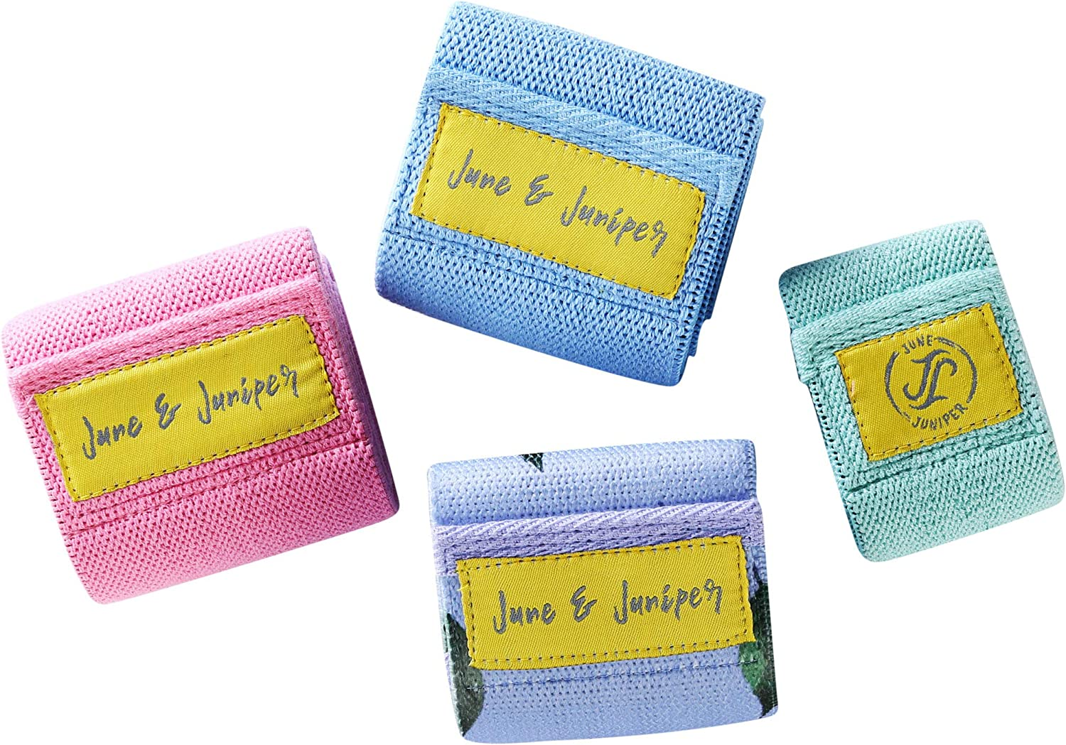 JUNE JJ JUNIPER Fabric Resistance Bands Set for Legs and Butt, 4 Pack Booty Bands,Exercise Bands,Workout Bands,Home Gym Workout Equipment with Core Sliders