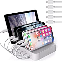Jzbrain 5-Port Multi Device USB Charging Station with 5 Short Cables
