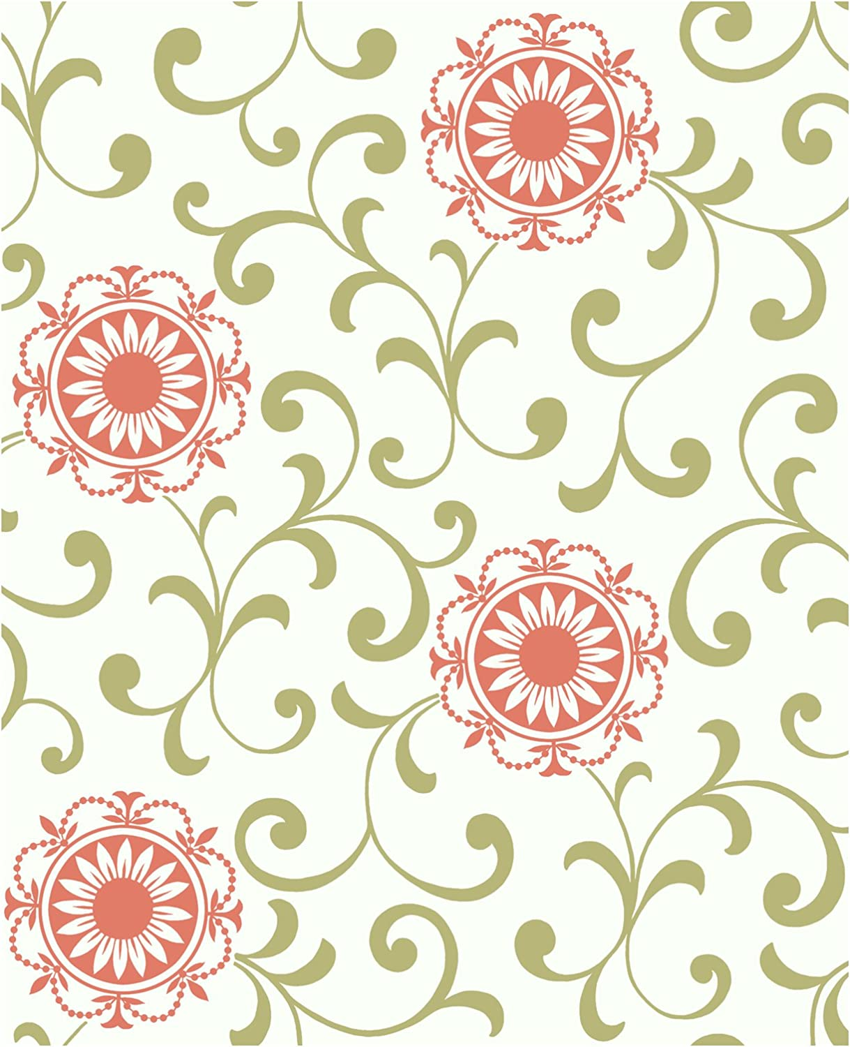 York Wallcoverings AP7456SMP Silhouettes Daisy Medallion with Scrolls Wallpaper Memo Sample 8-Inch x 10-Inch