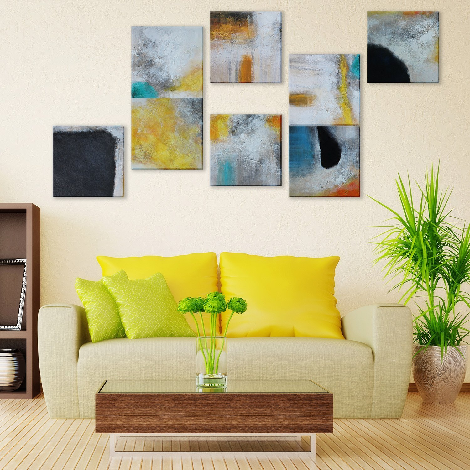 Amazon.com: IARTS Abstract Canvas Wall Art Acrylic Oil Paintings ...