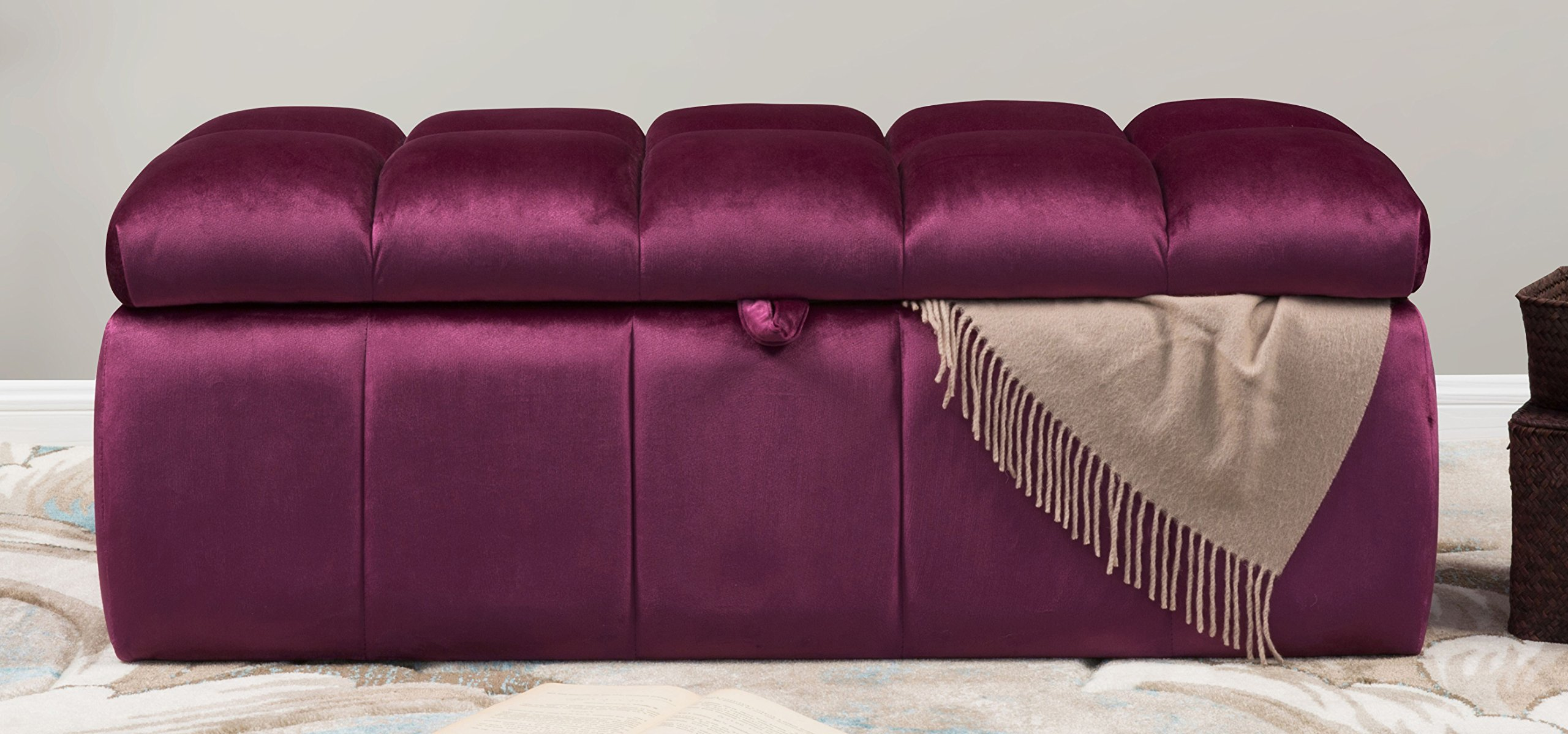 Iconic Home Chagit Bench Velvet Tufted Storage Ottoman, Plum