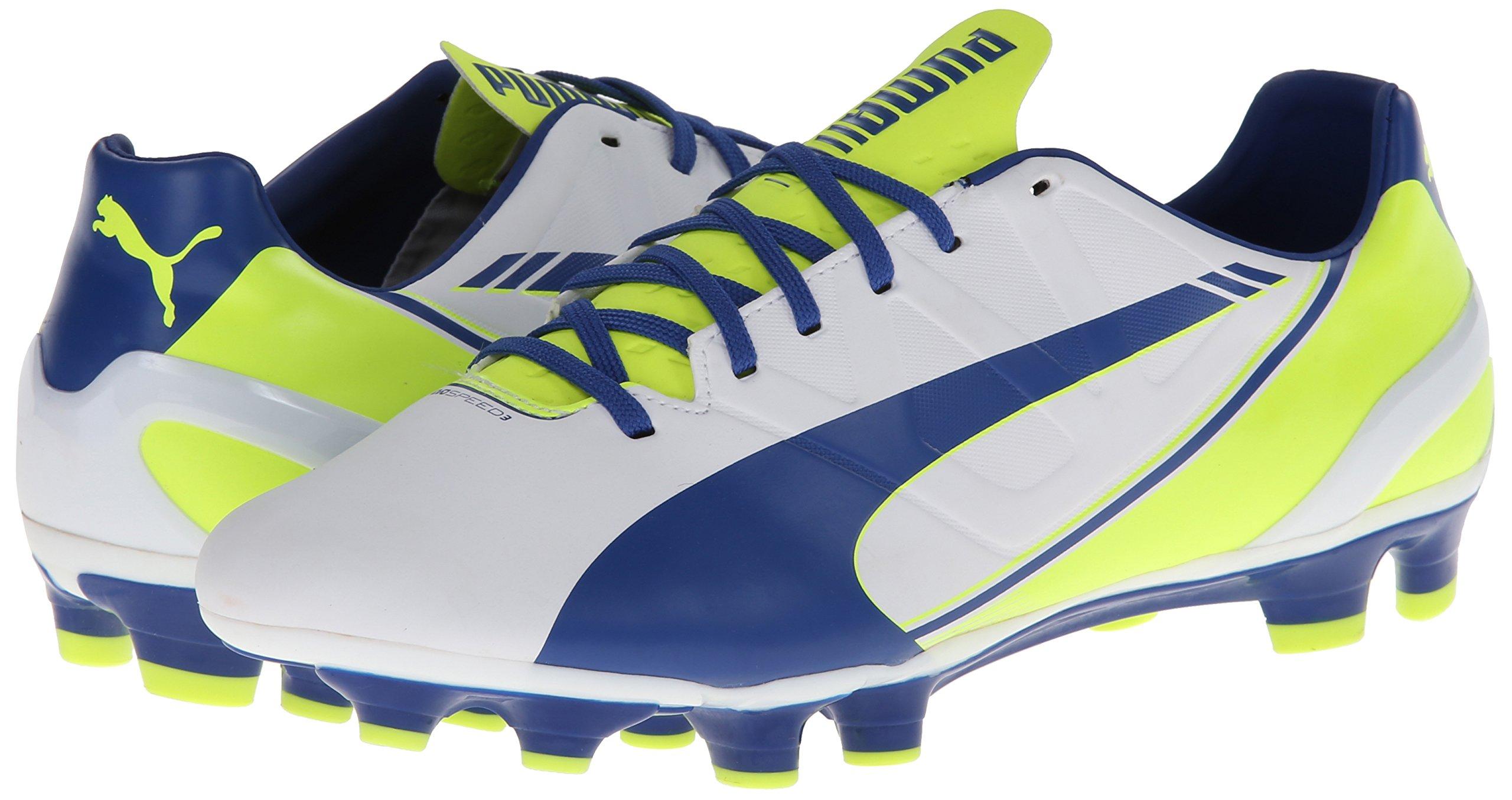 PUMA Women's Evo Speed 3.3 Firm Ground Soccer Shoe,White/Snorkel Blue/Fluorescent Yellow,8 B US by PUMA (Image #6)
