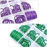 540 PCS /18 Sizes Rubber O Rings, Green/Purple
