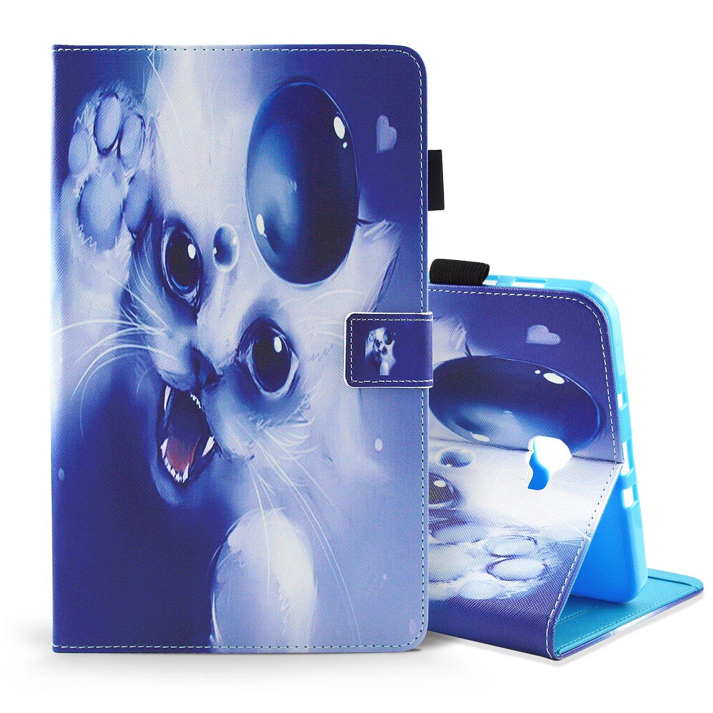 Samsung Galaxy Tab E 9.6 Coque Housse Etui Cuir PU Leather 360 Protection pour Samsung T560 T561 Magnetique Folio a Rabat Support Protective Auto Reveiller Sommeil Fente de Carte Case Cover Licorne