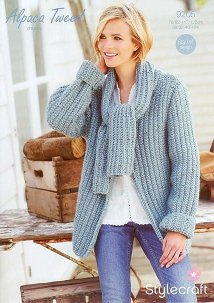 e063da44e Stylecraft 9205 Knitting Pattern Scarf Neck Jacket in Stylecraft Alpaca  Tweed Chunky  Amazon.co.uk  Kitchen   Home