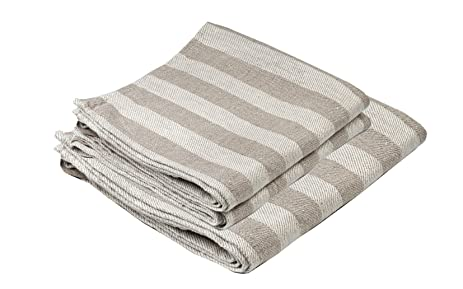 BLESS LINEN Jacquard Striped Pure Linen Towel Set Of 3, Grey/White    Includes