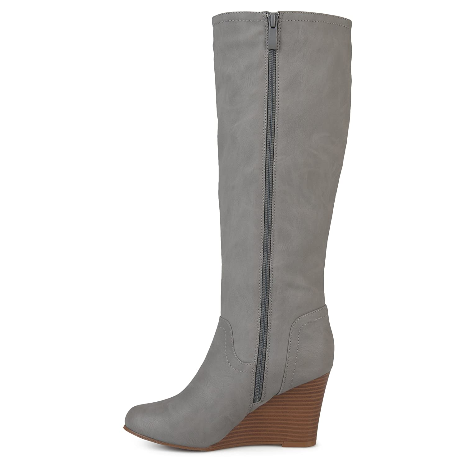 1333016a1ead Brinley Co. Womens Regular and Wide Calf Round Toe Faux Leather Mid-Calf  Wedge Boots Grey