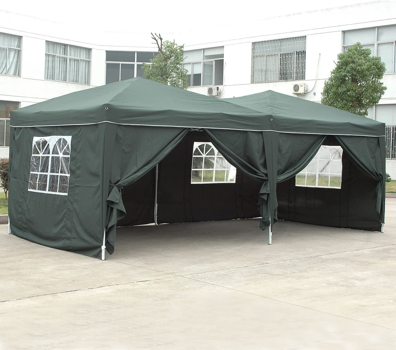 Homdox Tienda Pabellón Carpa 3M*6M con Paredes Laterales y Ventanas Plegables para Fiestas, Eventos, Boda,en Jardín o al Aire Libre,Verde