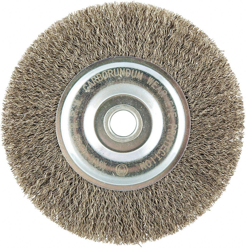 6'' Crimped Wire Wheel Brush, Arbor Hole Mounting, 0.012'' Wire Dia, 1-5/16'' Bristle Trim Length, 1 E - pack of 5