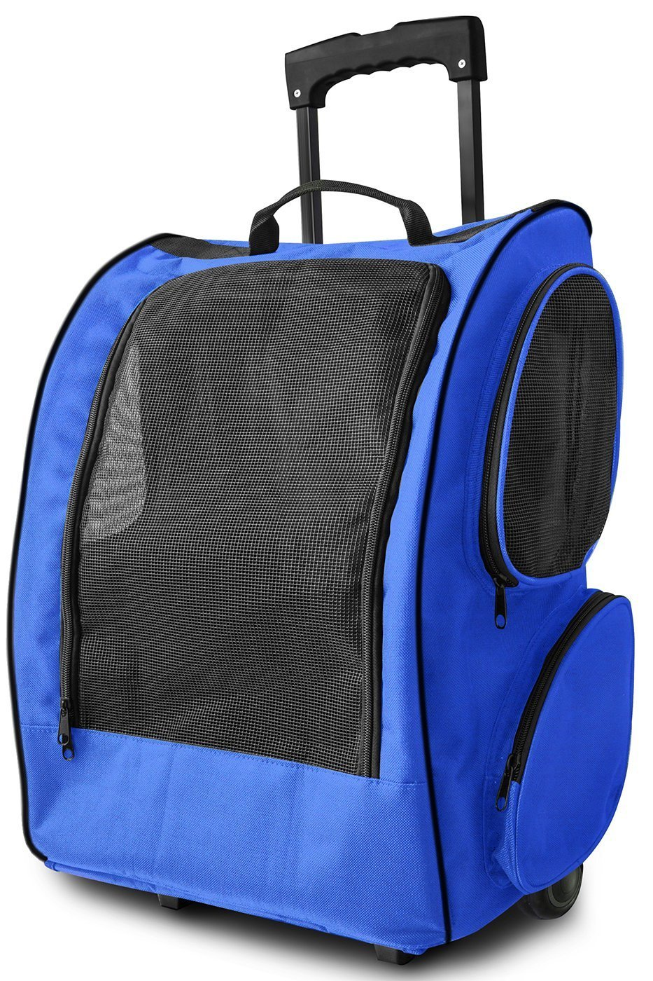 OxGord Rolling Backpack Travel Pet Carrier for Cats Dogs and Rabbits, Blue