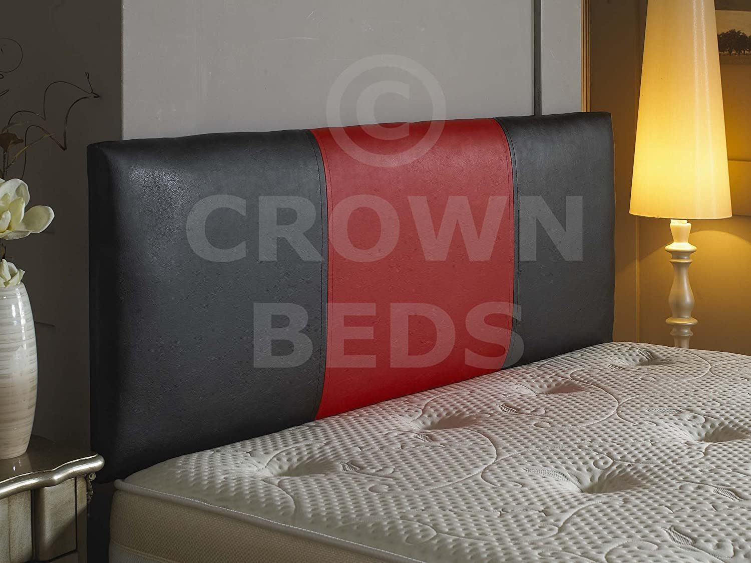 FAUX LEATHER TWO TONE HEADBOARD 2 TONE BED HEAD (Black/Blue/black, 2ft6 (Small Single)) CROWNBEDSUK
