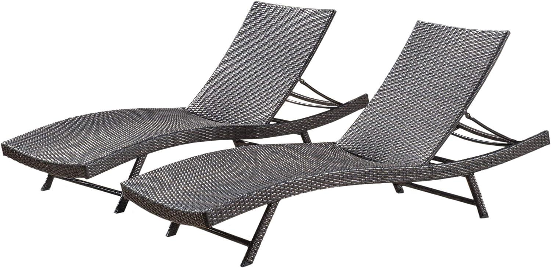 Amazon Com Christopher Knight Home Kauai Chaise Lounge Set 2 Pcs Set Brown Garden Outdoor
