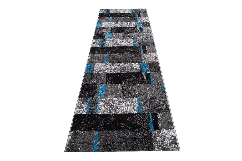 Moderne Läufer Teppich Flur Brücke - Tolle Muster in GRAU SCHWARZ - Teppichläufer TWIST Kollektion 80 x 350 cm