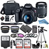 Canon EOS Rebel T7 DSLR Camera Bundle with Canon 18-55mm Lens + 2pc SanDisk 32GB Memory Cards + Accessory Kit (18-55mm)