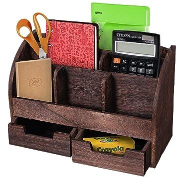 Schreibtisch Organizer Schublade Dunkelbraun Ablage Büro Briefe Bambus Organizer