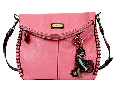d219b5b806e4 Amazon.com: Chala Charming Crossbody Bag With Flap Top | Flap and Zipper  Cross-Body Purse or Shoulder Handbag with Metal Chain - Pink - Cat: Shoes