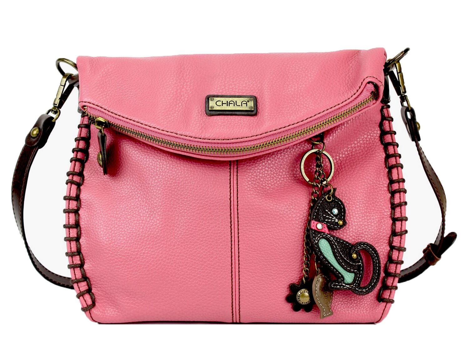 Chala Charming Crossbody Bag With Flap Top   Flap and Zipper Cross-Body Purse or Shoulder Handbag with Metal Chain - Pink - Cat