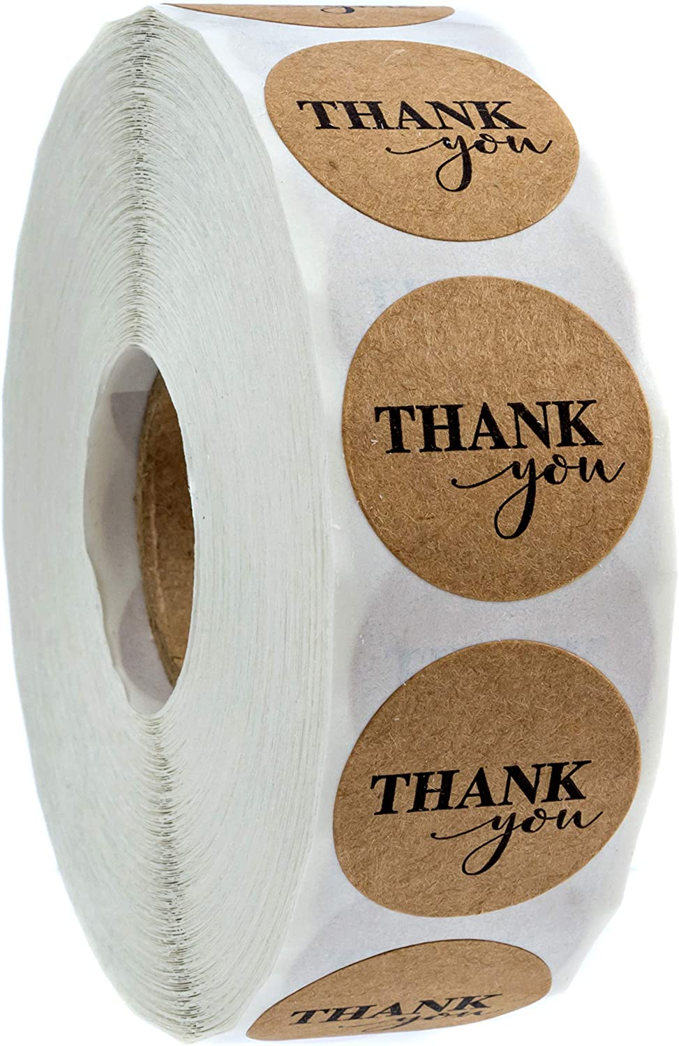 """1"""" Round Kraft Thank You Stickers / 1,000 Labels Per Roll"""