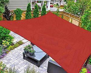 AsterOutdoor Sun Shade Sail Rectangle 12' x 12' UV Block Canopy for Patio Backyard Lawn Garden Outdoor Activities, Terra