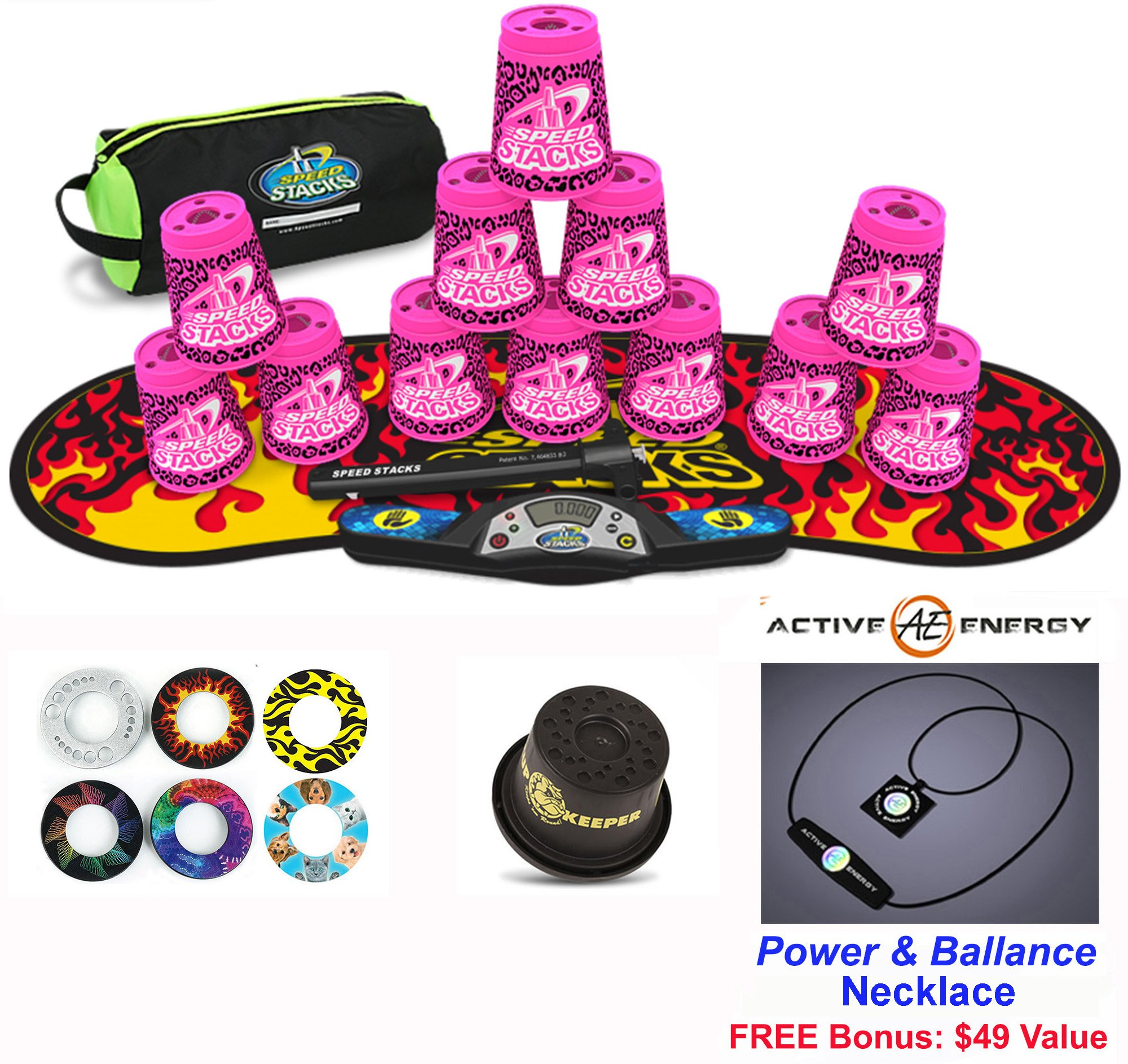 Speed Stacks Combo Set 'The Works'': 12 ZIPPY LEOPARD 4'' Cups, Black Flame Gen 3 Mat, G4 Pro Timer, Cup Keeper, Stem, Gear Bag + Active Energy Necklace