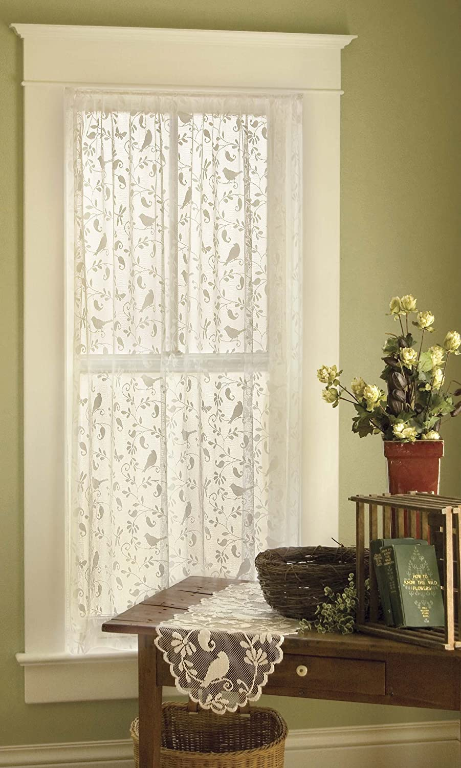 Amazon Heritage Lace Bristol Garden Panel 60 By 63 Inch Cafe Home Kitchen