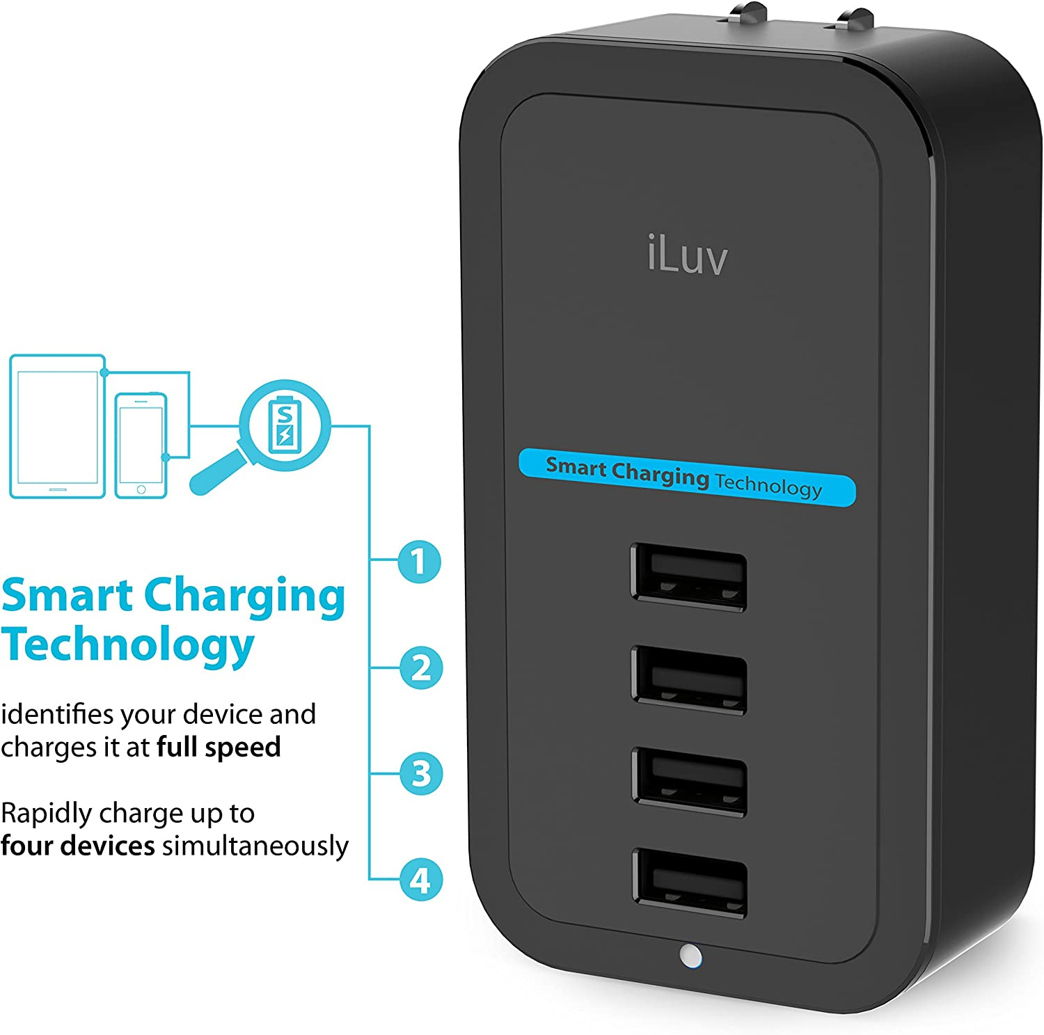 Safety Design iLuv Compact 4 Port USB Wall Charger with Smart Charging Technology Quick Charging and Durability for iPhone Tablets and Other USB Devices iPad Smartphones iPad