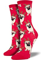Socksmith Women's Antler Pug Crew Socks