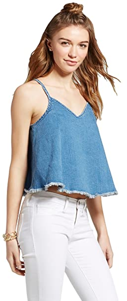 16ac864a15eec5 Mossimo Women s Denim Woven Tank Top at Amazon Women s Clothing store