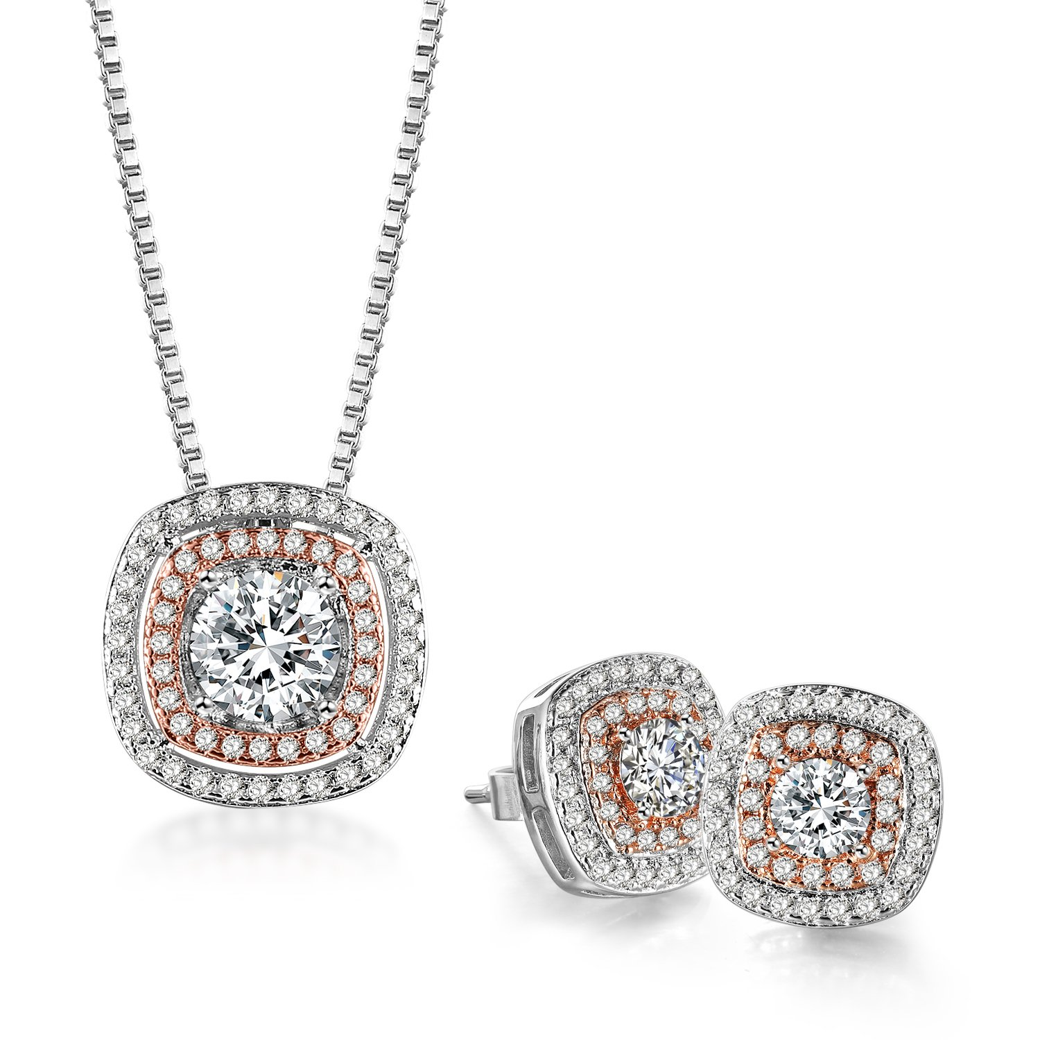 THEHORAE Jewelry Set Rose White Gold CZ Pendant Square Necklace Stud Earrings Sets for Birthday Gift,Crystals from Swarovski
