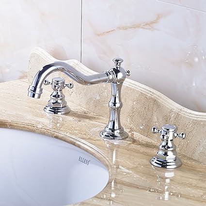 Rozin Chrome Widespread Holes Bathroom Sink Faucet Dual Cross - 3 piece bathroom sink faucet