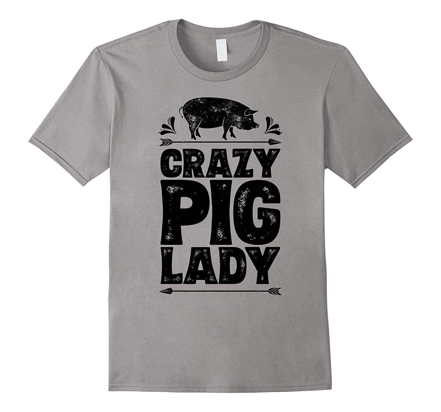 Crazy Pig Lady T shirt Funny Pigs Farm Poultry Farmer Gifts-RT