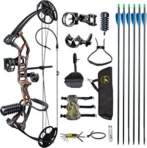 """TOPOINT ARCHERY M2 Youth Compound Bow Set Beginners,Junior&kids Bow Women Bow 17""""-27"""" Draw Length,10-40Lbs Adjustable,290fps IBO,Axle To Axle 25"""", Limbs Made In USA,Bow Only 2.54lbs,Lightweight Design"""