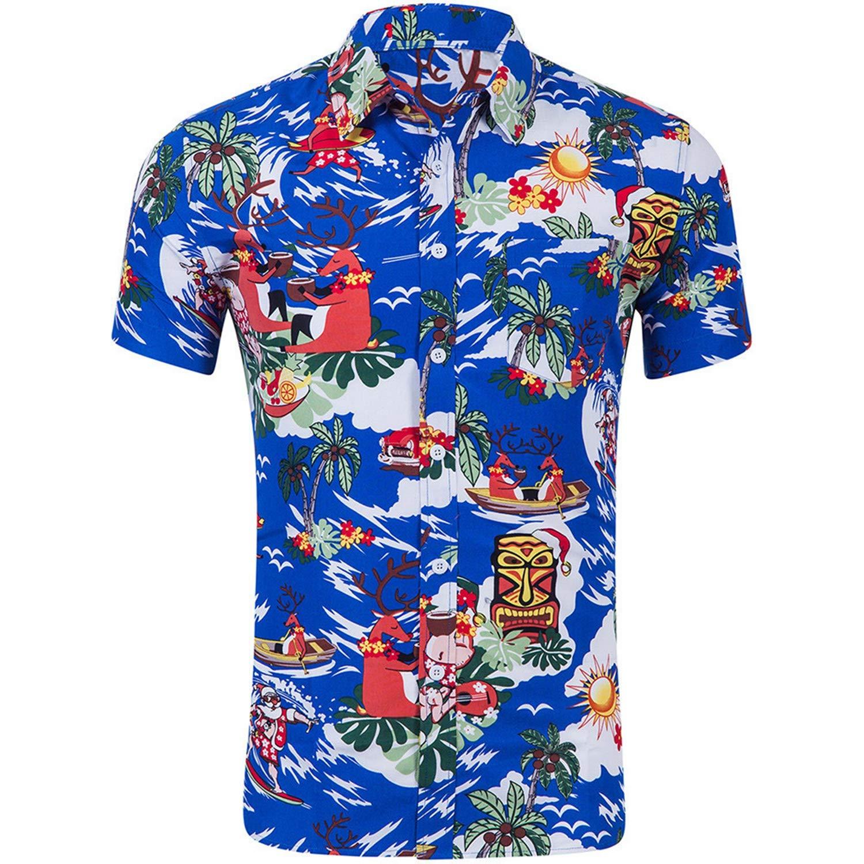 Mens Beach Hawaiian Shirt 3D Print Summer Shirt Mens Short Sleeve Shirt Casual Cotton Hawaiian Loose Button Down Shirts Tops
