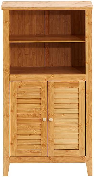 Relaxdays - Comoda para el cuarto de baño LAMELL, 92 x 50 x 25 cm, bambú, 2 puertas, 2 compartimentos interiores, pasillo, baño, color natural: Amazon.es: ...