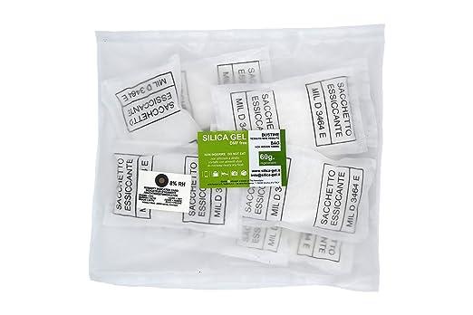 6 opinioni per Silica gel- 10 bustine disidratanti da 60 grammi cadauna sali essiccanti