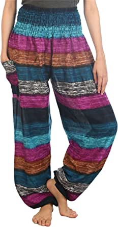 Lofbaz Women's Smocked Waist Floral Rayon Yoga Boho Harem Pants