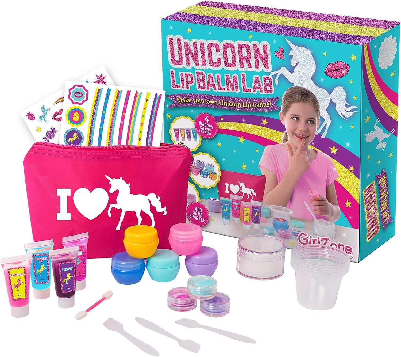 GirlZone Regalos para Niñas - Kit Unicornio Haz Tu Propio Bálsamo Labial - Divertido Brillo De Labios para Niñas - Kit Pintalabios Niña DIY 3 a 12 años